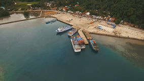 Sea passenger ferry port aerial view .Camiguin island, Philippines. stock video