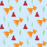 Sea pattens and frames. Cute funny decorative seamless background pattern with repeating elements such as goldfish, alga, coral and bubbles in blue water. Vector Stock Photography