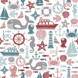 Sea pattern. Seamless pattern with sea icons Stock Photography