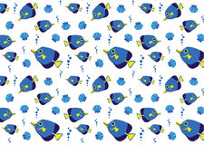 Sea pattern with blue fish. And shell Royalty Free Stock Images
