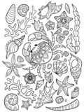 Sea pattern doodle coloring book page