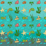 Sea pattern with fish Royalty Free Stock Photo