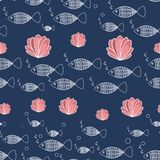 Sea seamless pattern fish and corals vector illustration