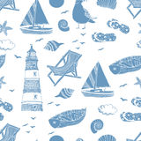 Sea pattern. Hand drawing sketch Stock Photos