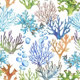 Sea pattern. Hand-drawn watercolor sea pattern with corals. Underwater repeated background Vector Illustration