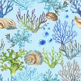 Sea pattern. Hand-drawn watercolor sea pattern with shells and corals. Underwater repeated background Stock Illustration