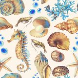 Sea pattern. Hand-drawn watercolor sea pattern with shells. Underwater repeated background Royalty Free Illustration