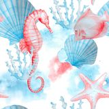 Sea pattern with hand painted watercolor creatures. Royalty Free Stock Photography