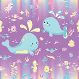 Sea Pattern modern style delicate color. Vector background Stock Images