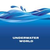Sea pattern. ocean water vector illustration. blu surface motif Royalty Free Stock Images