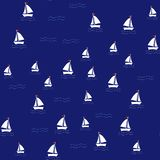 Sea pattern with sailing ships on navy background. stock illustration