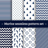 Sea pattern seamless set vector Stock Photo