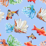 Sea  pattern seamless, watercolor,. Fish coral seashell watercolor  blue background handmade pattern seamless Stock Photo