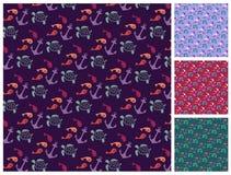 Sea  pattern set Royalty Free Stock Photos