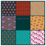 Sea  pattern set Royalty Free Stock Photography