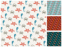 Sea  pattern set Royalty Free Stock Image