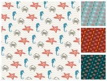 Sea  pattern set Royalty Free Stock Image