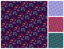 Sea  pattern set Royalty Free Stock Photos