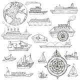 Sea pattern with ships. Royalty Free Stock Photos