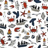 Sea pattern With small drawings. Vladivostok Royalty Free Stock Image