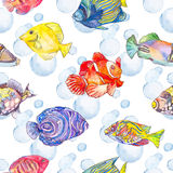 Sea pattern. Tropical fish. jellyfish. Ocean. Fashionable and quality pattern. Watercolor handmade painting Stock Images