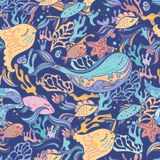 Sea pattern with whale Royalty Free Stock Images