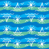 Sea pattern with yachts. Sea seamless pattern with yachts, vector Stock Photography