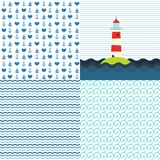 Sea patterns vector set Royalty Free Stock Image