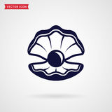 Sea pearl in the shell. Vector icon. Royalty Free Stock Photo