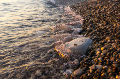 Sea pebble beach with multicoloured stones, waves with foam Stock Images