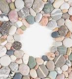 Sea pebble, sea stones background. Sea pebbles frame. Royalty Free Stock Photo