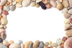 Sea pebbles frame Royalty Free Stock Photos