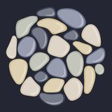 Sea pebbles are located in a circle. Abstract vector illustration Stock Image