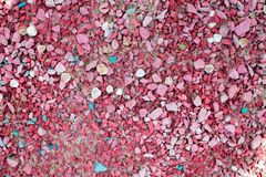Sea pebbles of pink color with shells of different color and size. stock photos