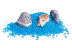 Sea pebbles and shells on a bath salts Stock Photos