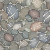 Sea pebbles under water seamless pattern. Stone decorative backg Royalty Free Stock Photo