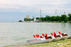 Sea and pedalos Royalty Free Stock Photo