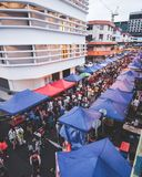Crowded scene at kota kinabalu food bazaar royalty free stock photos