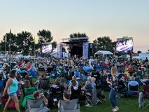 Sioux Falls Rythym & Blues Jazzfest. Sea of people in lawnchairs listening to the band at free concert, SFRBJazzfest 2018 stock photography