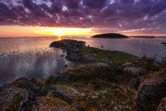 Sea perspective. Ladoga lake panorama,beautiful sunrise Stock Photos