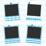 Sea photo frames. Decorative template for photo frame your photos. Photo frames with drawing in the form marskih waves. Frames for decoration of photos from Royalty Free Stock Image