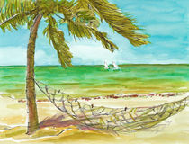The sea picture. Hand drawing picture, holiday on the sea, picture 3 Royalty Free Stock Photos