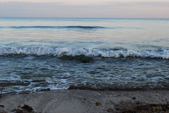 Sea-piece. Marine waves are broken over a bank Royalty Free Stock Photography