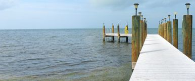 Sea and pier panorama. View to to the sea and a dock stock photos