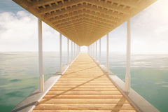 Sea pier with roof. Wooden sea pier with a roof on cloudy sky background. 3D Rendering Royalty Free Stock Images