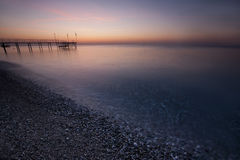 The sea and the pink and blue sky Stock Image