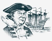 Sea Pirate. Portrait of the seaman hook against the background of sailboat. Marine sailor. Travel by ship or boat. Engraved hand drawn, vintage sketch for stock illustration