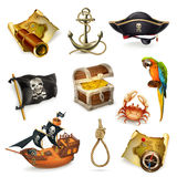 Sea pirates, vector icon set vector illustration
