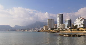 Sea place calpe mountain clouds panorama 4k stock footage