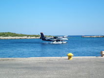Sea Plane. Taxing to take-off from the sea Royalty Free Stock Photos